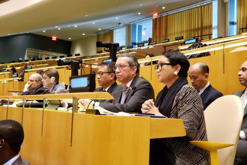 Menteri Luar Negeri (Menlu) Indonesia Retno Marsudi dalam Sidang Majelis Umum (SMU) Perserikatan Bangsa-Bangsa (PBB), New York, Rabu (3/4).