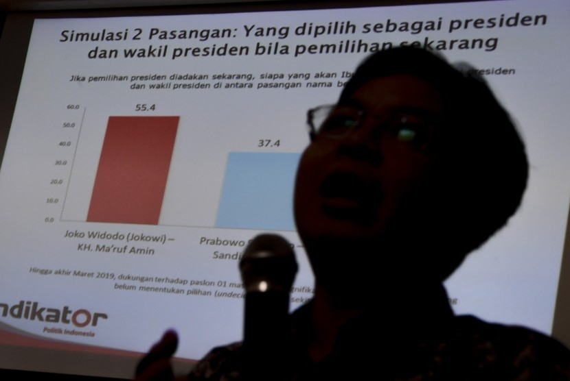 Direktur Eksekutif Indikator Politik Indonesia Burhanuddin Muhtadi saat memaparkan hasil survei.