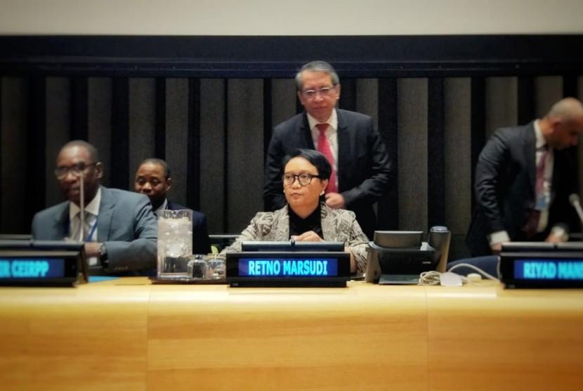 Menteri Luar Negeri Indonesia Retno LP Marsudi dalam forum PBB membahas Palestina, New York, Kamis (4/3).
