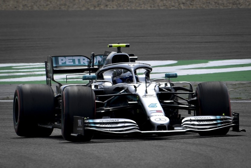 Pembalap Formula Satu Finlandia Valtteri Bottas dari Mercedes AMG GP.