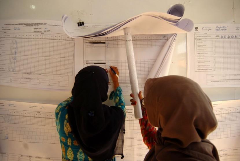 Petugas PPS melakukan rekapitulasi tingkat kelurahan di Pendapa Kecamatan Tegal Timur, Tegal, Jawa Tengah, Jumat (19/4/2019).