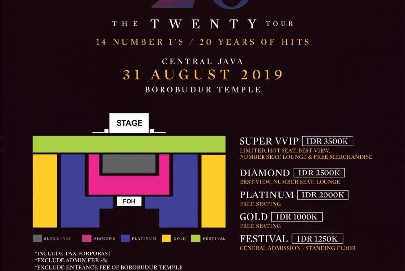 Tiket Konser Westlife The Twenty Tour Live in Borobudur pada 31 Agustus 2019 mendatang akan resmi dibuka pada Senin (22/4).