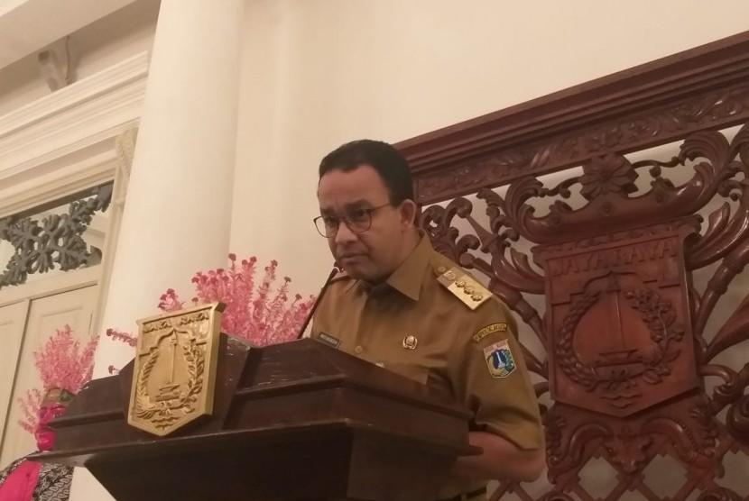 Gubernur DKI Jakarta Anies Rasyid Baswedan di Balai Kota, Jakarta Pusat, Senin (22/4).