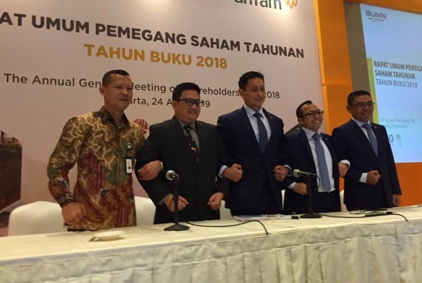 PT. Aneka Tambang (Antam) melakukan RUPS di Hotel Borobudur, Rabu (24/4).