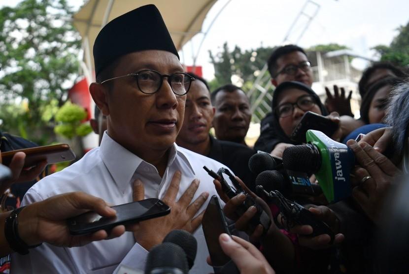 Menteri Agama Lukman Hakim Saifuddin tiba untuk menjalani pemeriksaan di kantor KPK, Jakarta, Rabu (8/5/2019).