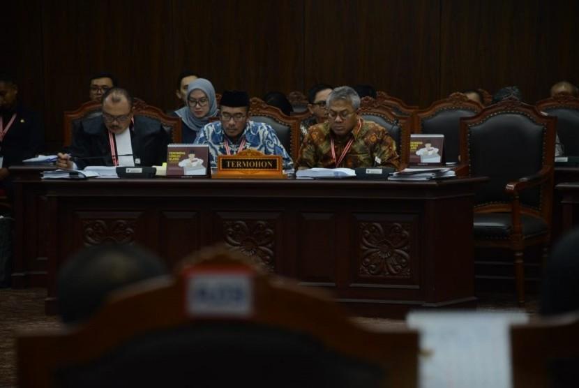 Suasana sidang sengketa Pemilhan Presiden (Pilpres) 2019 di Mahkamah Konstitusi, Jakarta, Selasa (18/6).