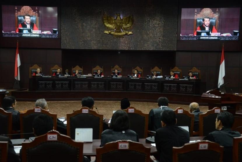 Suasana sidang sengketa Pemilhan Presiden (Pilpres) 2019 beragendakan mendengarkan keterangan saksi di Mahkamah Konstitusi, Jakarta, Rabu(19/6).