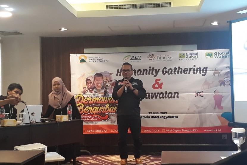 Kepala Cabang Global Qurban-ACT DIY, Bagus Suryanto, saat Humanity  Gathering dan Syawalan ACT DIY di Hotel Satoria, Sabtu (29/6).