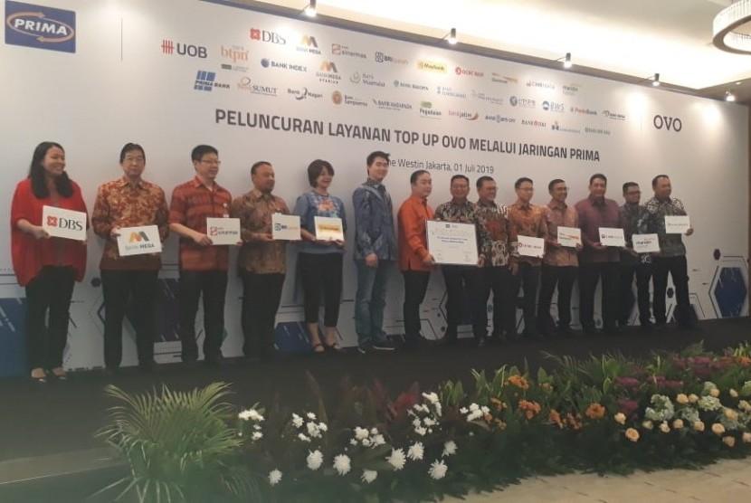 PT Visionet Internasional (OVO) menjalin kerja sama dengan PT Rintis Sejahtera (Jaringan Prima) dalam penyediaan jaringan untuk Top Up di Westin Jakarta, Senin (1/7).