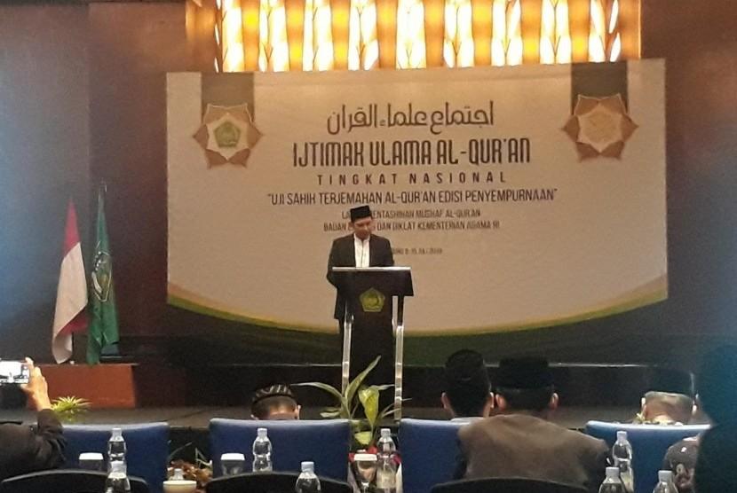 BANDUNG -- Ijtima Ulama Alquran Tingkat Nasional menghasilkan enam rekomendasi untuk terjemahan Alquran edisi penyempurnaan di Bandung, Rabu (10/7).