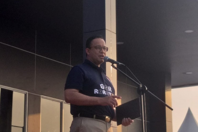 Gubernur DKI Jakarta Anies Rasyid Baswedan meresmikan GOR Rorotan, Jakarta Utara, Senin (29/7).