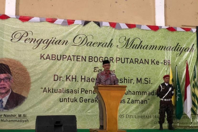 Ketua Umum PP Muhammadiyah, Haedar Nashir, dalam Pengajian Daerah Muhammadiyah di Leuwiliang, Kabupaten Bogor, Jawa Barat, Selasa (6/8).