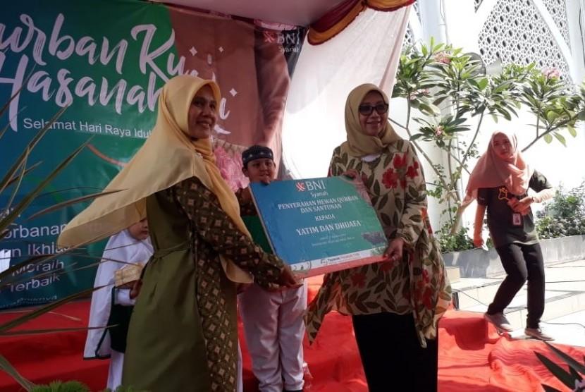 BNI Syariah menggelar rangkaian program Qurbanku Hasanahku salah satunya di SDIT Al Husna Tanjung Priok, Jakarta Utara, Senin (12/8)