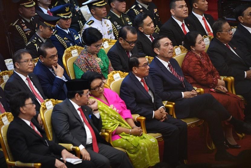 Sejumlah menteri Kabinet Kerja mengikuti Sidang Tahunan MPR di Kompleks Parlemen, Senayan, Jakarta, Jumat (16/8/2019).