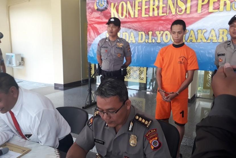 Konferensi pers tindak pidana UU ITE yang digelar Ditreskrimsus  Polda DIY, Senin (19/8)