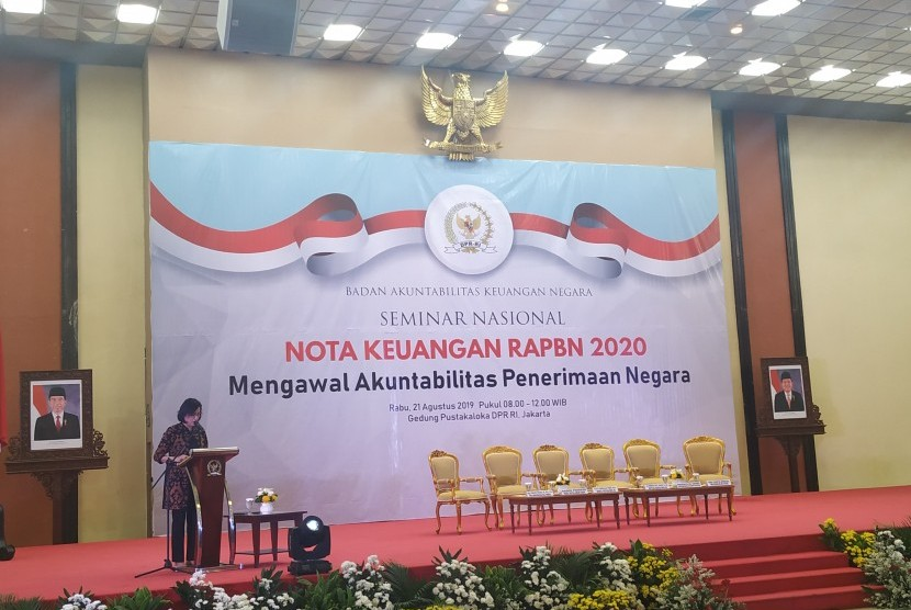 Menteri Keuangan Sri Mulyani dalam acara Seminar Nasional Nota  Keuangan RAPBN 2020 di Gedung DPR/ MPR, Jakarta, Rabu (21/8)