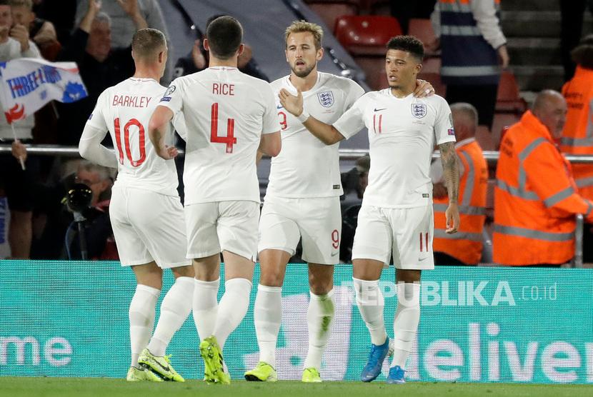 Inggris melawan Kosovo dalam pertandingan kualifikasi grup A Euro 2020, di St Mary's Stadium Southampton Inggris.