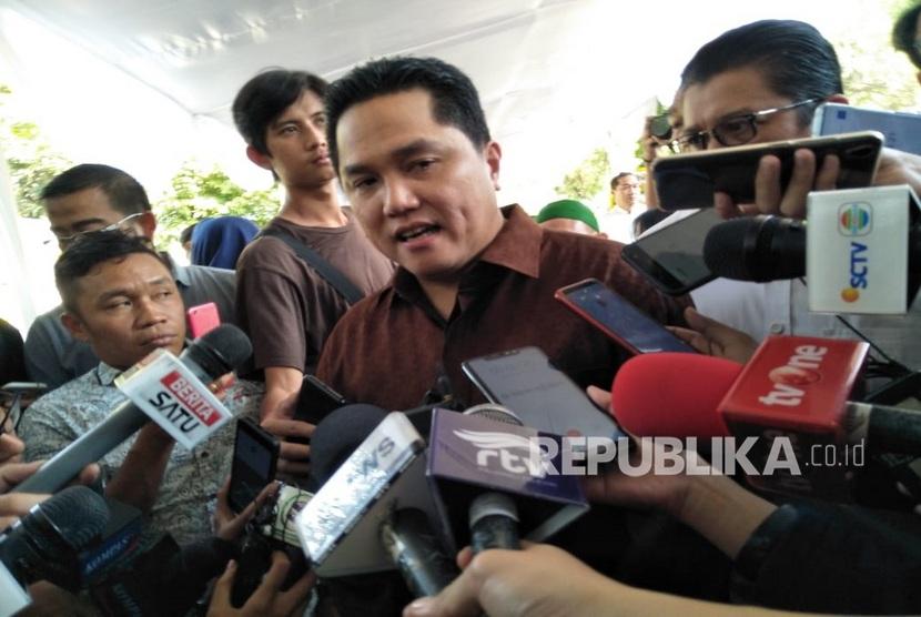 Komisaris Utama PT Republika Media Mandiri Erick Thohir, saat melayat ke rumah BJ Habibie, di Kuningan, Jakarta, Kamis (12/9)