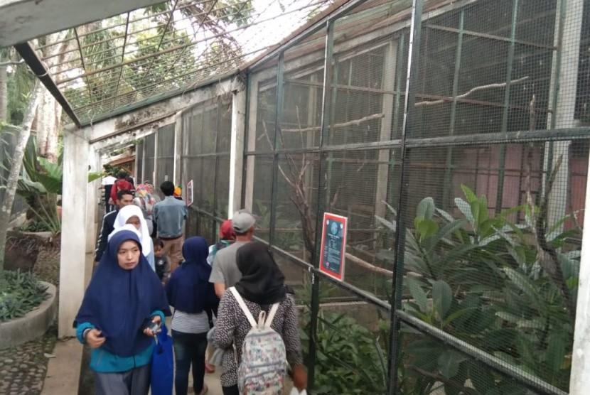 Pengunjung memadati Taman Satwa Cikembulan, Kabupaten Garut, Jumat (3/1).