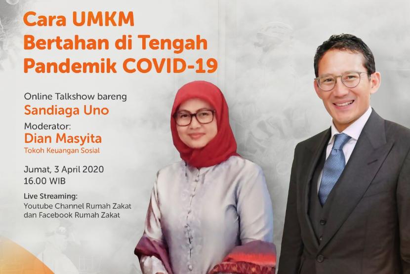 Talkshow Online Rumah Zakat dengan tema Cara UMKM Bertahan di tengah pandemik Covid-19.