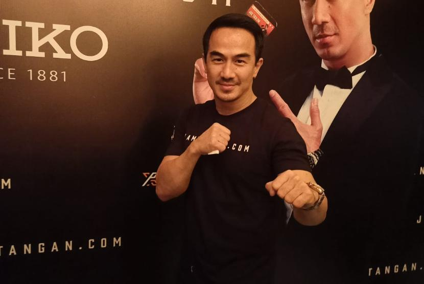 Aktor Joe Taslim di acara nonton bareng Mortal Kombat yang digelar jamtangan.com dan Seiko di Metropole XXI, Jakarta Pusat, Jumat (23/4).