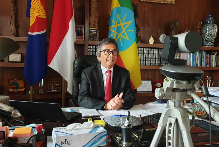 Duta Besar RI untuk Ethiopia, Djibouti dan Uni Afrika Al Busyra Basnur berbicara dalam seminar virtual tentang pendidikan, Rabu (28/7).