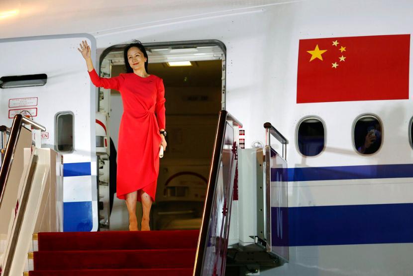 Anak pendiri Huawei sekaligus CFO, Meng Wanzhou. Pemerintah Kanada memutuskan melepaskan Meng setelah mengikat kesepakatan dengan pemerintah China.
