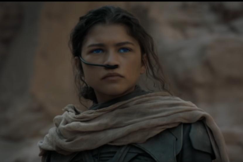Zendaya dalam film Dune. Kisah antarplanet itu akan diputar di bioskop AS dan HBO dalam waktu bersamaan.