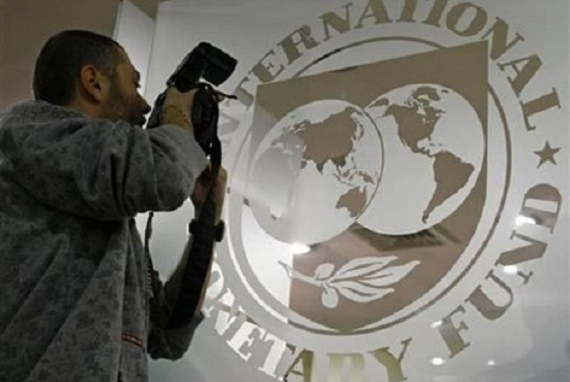 A photographer takes pictures through a glass carrying the International Monetary Fund (IMF) logo during a news conference in Bucharest. (file photo)