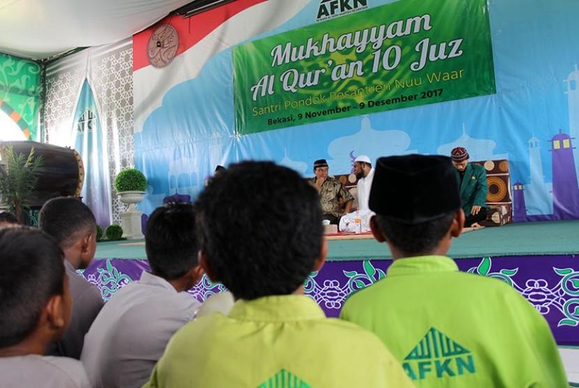 Ada ribuan santri AFKN mengikuti Mukhayyam Alquran 10 Juz. Mereka dibimbing guna menjadi hafiz Alquran dan Imam masjid.