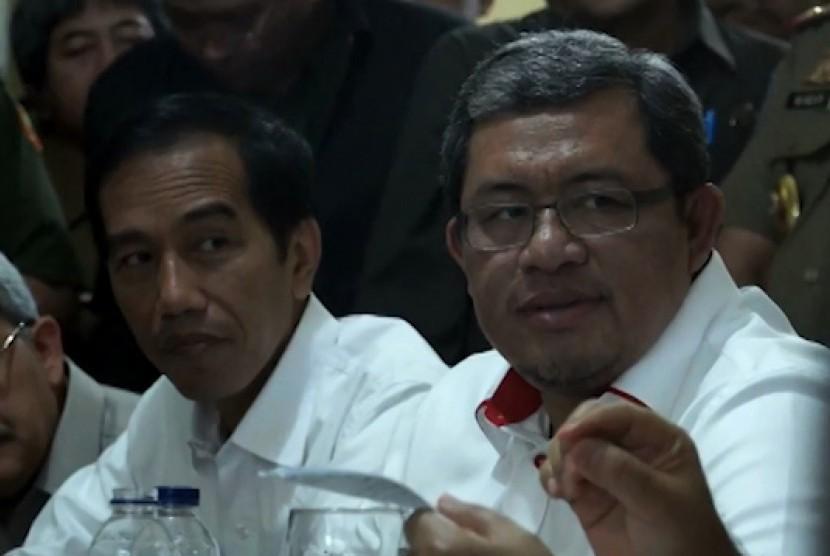 Aher dan Jokowi ketika menghadiri rapat Forum Badan Kerjsama Pembangunan (BKSP),  Katulampa, Bogor.