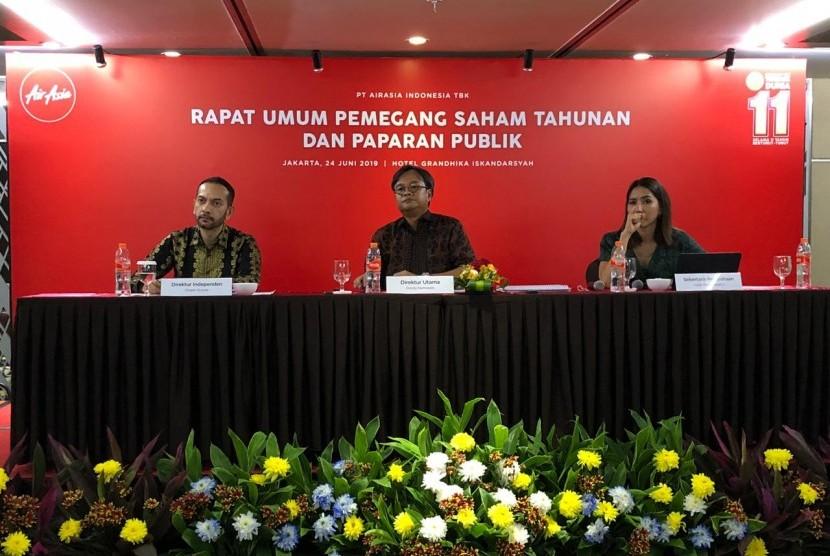 AirAsia mengadakan Rapat Umum Pemegang Saham Tahunan (RUPST) dan Paparan Publik di Hotel Grandhika, Jakarta, Senin (24/6).