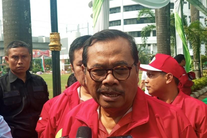 aksa Agung HM Prasetyo memberikan keterangan pers di Kejaksaan Agung RI, Jakarta, Kamis (12/7).