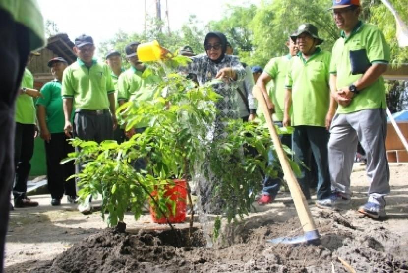 Aksi penanaman pohon dalam Peringatan Hari Sampah Nasional 2019 di  Dusun Krikil, Desa Tegaltirto, Kecamatan Berbah, Jumat (8/3). Doc: Pemkab  Sleman