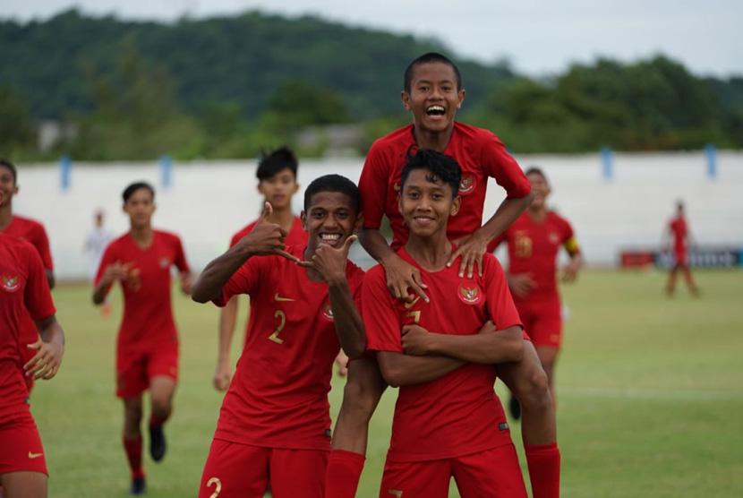 Aksi selebrasi Timnas Indonesia U-15 Piala AFF U-15.