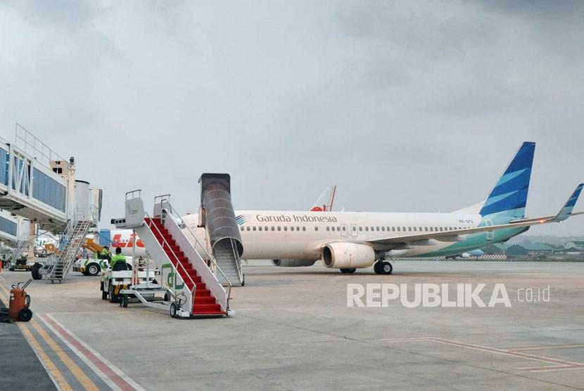 Aktivitas di Bandara Internasional Ahmad Yani (BIAY) Semarang. Tren pergerakan penumang di bandara ini mengalami oeningkatan pada H-6 Lebaran tahun 2018