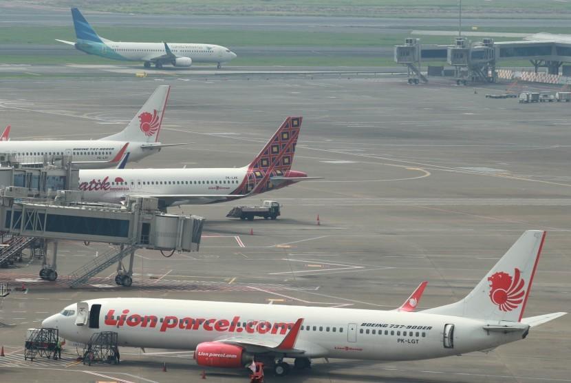 Aktivitas di Bandara Soekarno Hatta, Tangerang, Banten, Kamis (16/5/2019).