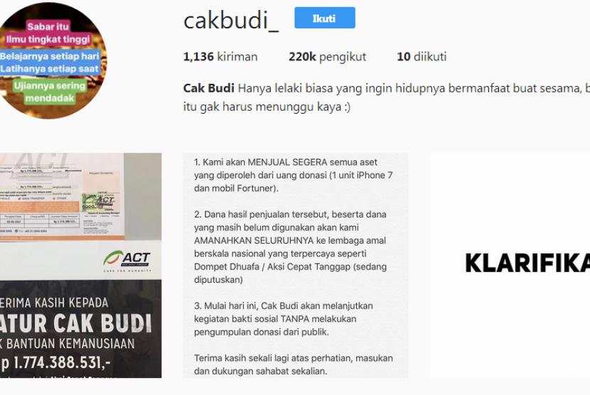 Akun Instagram Cak Budi