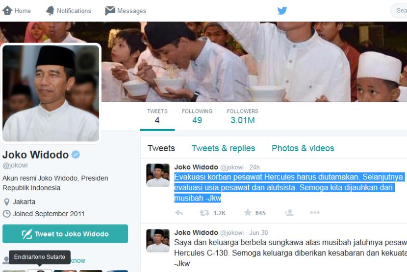Akun Twitter Presiden Jokowi.