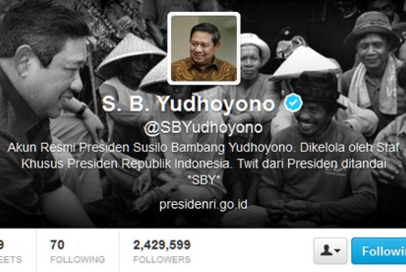 Akun Twitter Presiden RI, Susilo Bambang Yudhoyono (SBY).