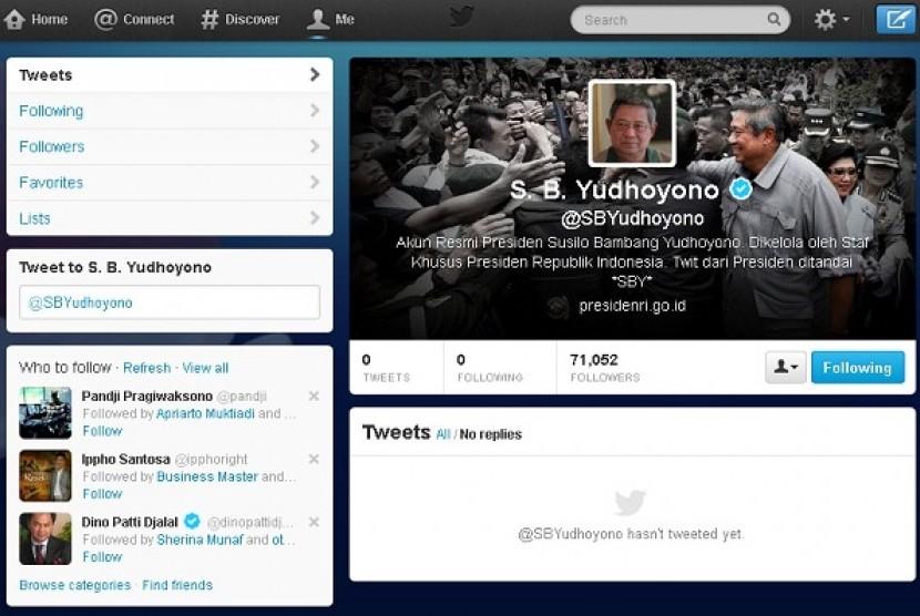 Akun Twitter resmi milik Presiden SBY.