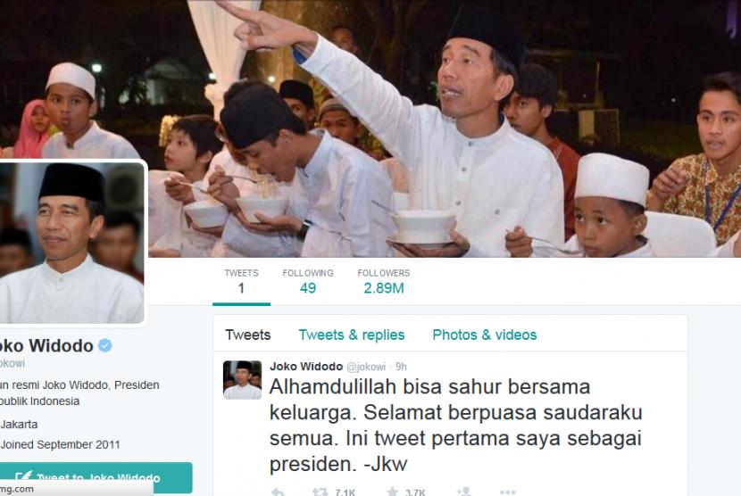 Akun Twitter resmi Presiden Jokowi, @jokowi.