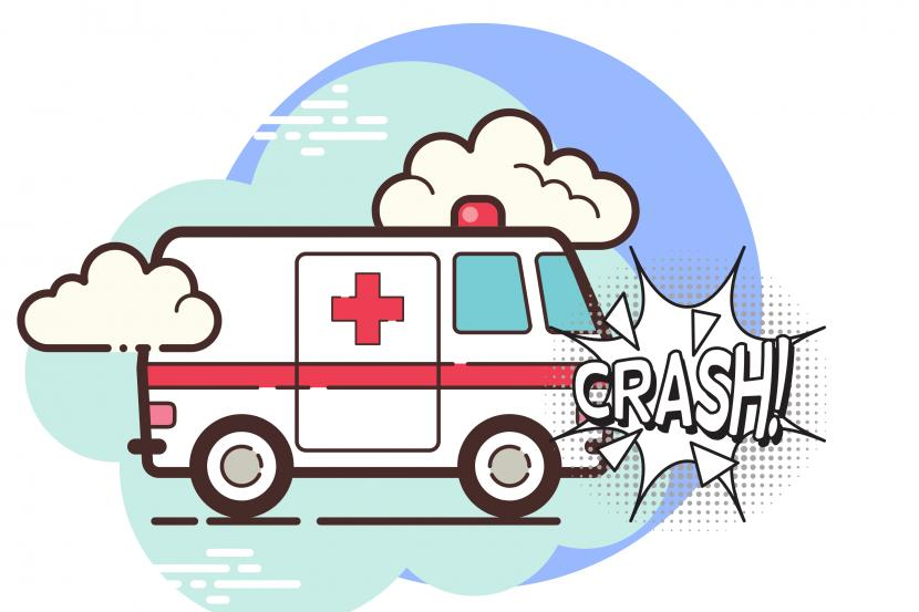 Ambulans pembawa jenazah mengalami kecelakaan (ilustrasi)