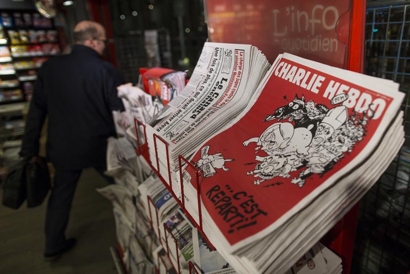 Halaman Depan Charlie Hebdo Memuat 12 Kartun Nabi Muhammad. Majalah Charlie Hebdo (ilustrasi).