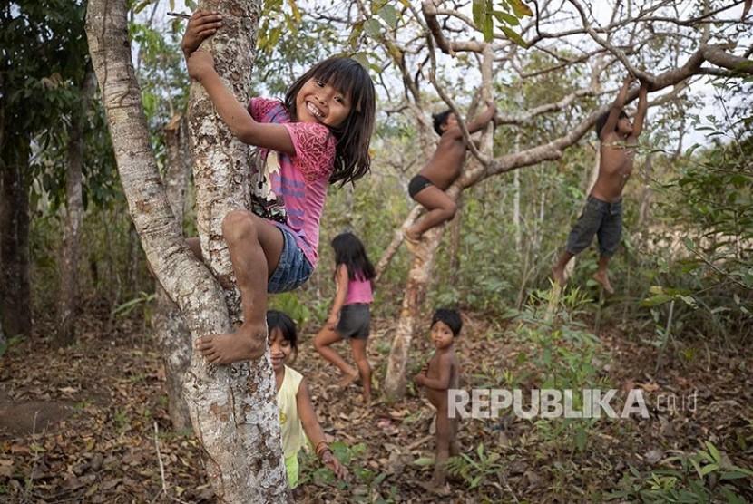 Anak-anak dari suku Nambikwara Sarare bermain di antara pepohonan di tenggara hutan Amazon, di negara bagian Mato Grosso, Brazil.  Sekitar 98% lahan adat yang dimiliki oleh suku asli setempat Brazil berada di pedalaman hutan Amazon.