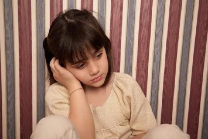 Anak depresi kerap terlihat murung. Ilustrasi.