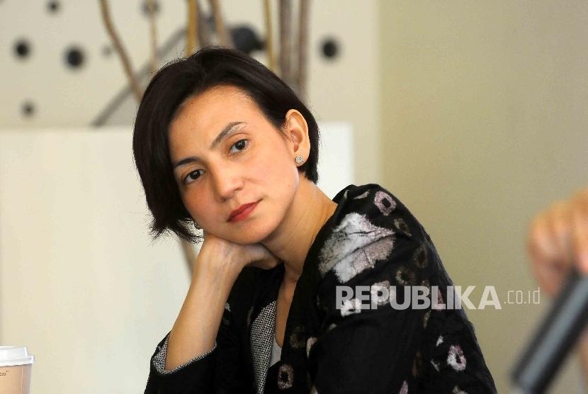 Artis sekaligus aktivis, Wanda Hamidah menjadi pembicara dalam diskusi publik di Jakarta, Kamis (12/5).