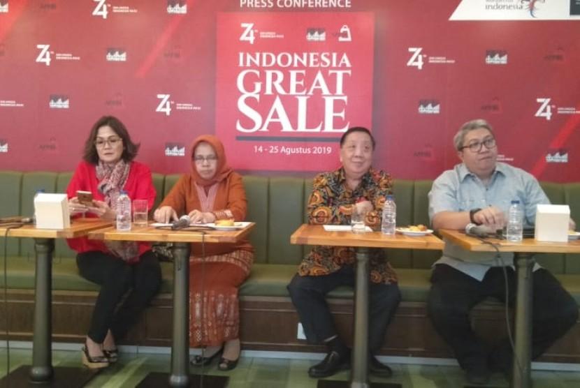 Asosiasi Pengelola Pusat Belanja Indonesia (APPBI) dan Asosiasi Pengusaha Retail Indonesia (Aprindo) siap menggalar pesta diskon Indonesia Great Sale di 321 pusat perbelanjaan pada 14-25 Agustus 2019. Penyelenggaraan Indonesia Great Sale mendapat dukungan dari Kementerian Perdagangan dan Kementerian Pariwisata.