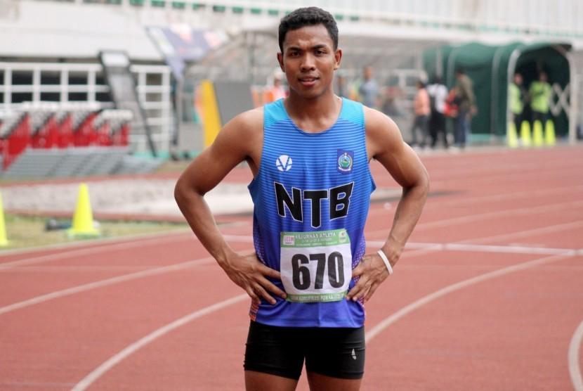 Atlet asal NTB Lalu Muhammad Zohri berpose setelah mencapai garis finish dalam nomor Lari 200 meter final U-20 putra Kejurnas Atletik 2019 di Stadion Pakansari, Bogor, Jawa Barat, Minggu (4/8/2019).
