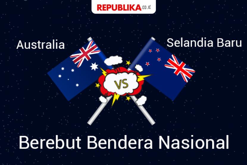 Australia dan Selandia Baru berebut bendera.